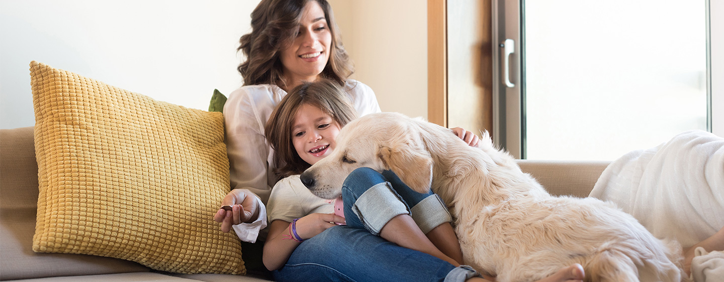 Mom, daughter, and dog relaxing on couch.