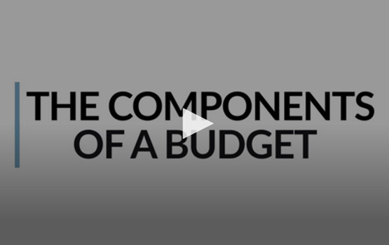 Opening Screen of The Components of a Budget video.